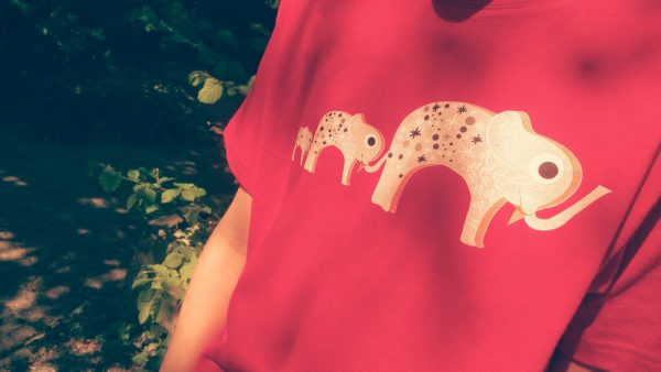 photo t shirt famille elephants enfant rouge